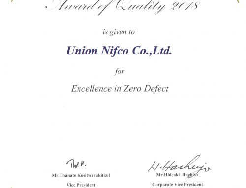 """AWARD OF QUALITY AWARD 2018 FOR EXCELLENCE IN ZERO DEFECT"" from MITSUBISHI MOTORS (THAILAND) CO., LTD"